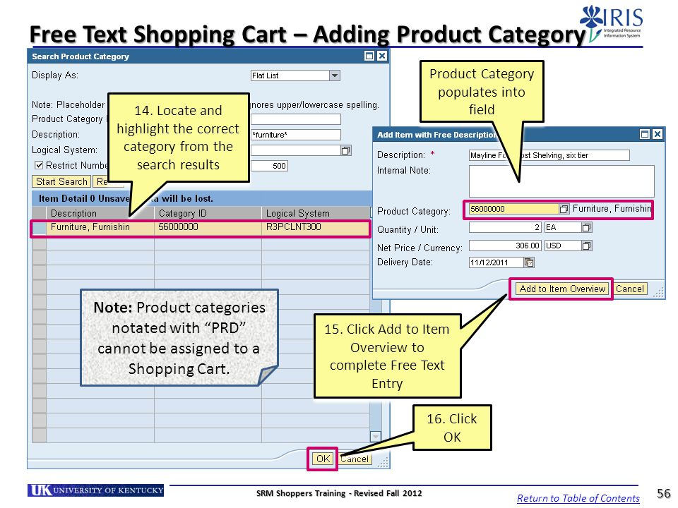 Free Text Shopping Cart – Adding Product Category