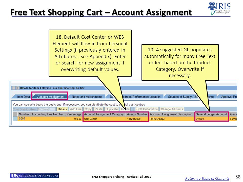 Free Text Shopping Cart – Account Assignment