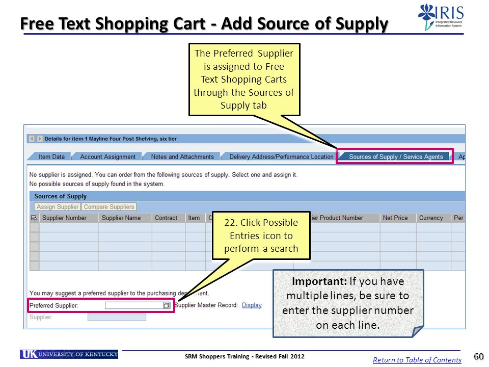 Free Text Shopping Cart - Add Source of Supply