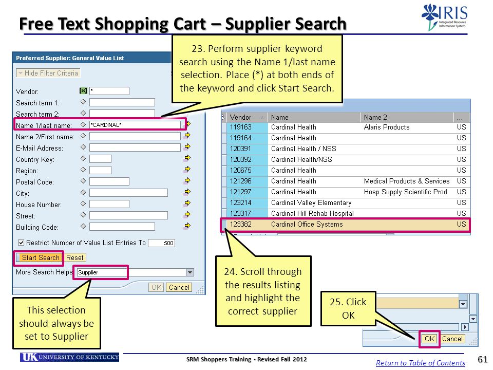 Free Text Shopping Cart – Supplier Search