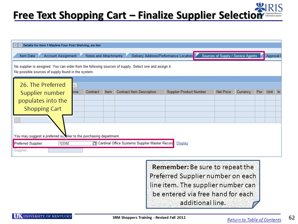 Free Text Shopping Cart – Finalize Supplier Selection