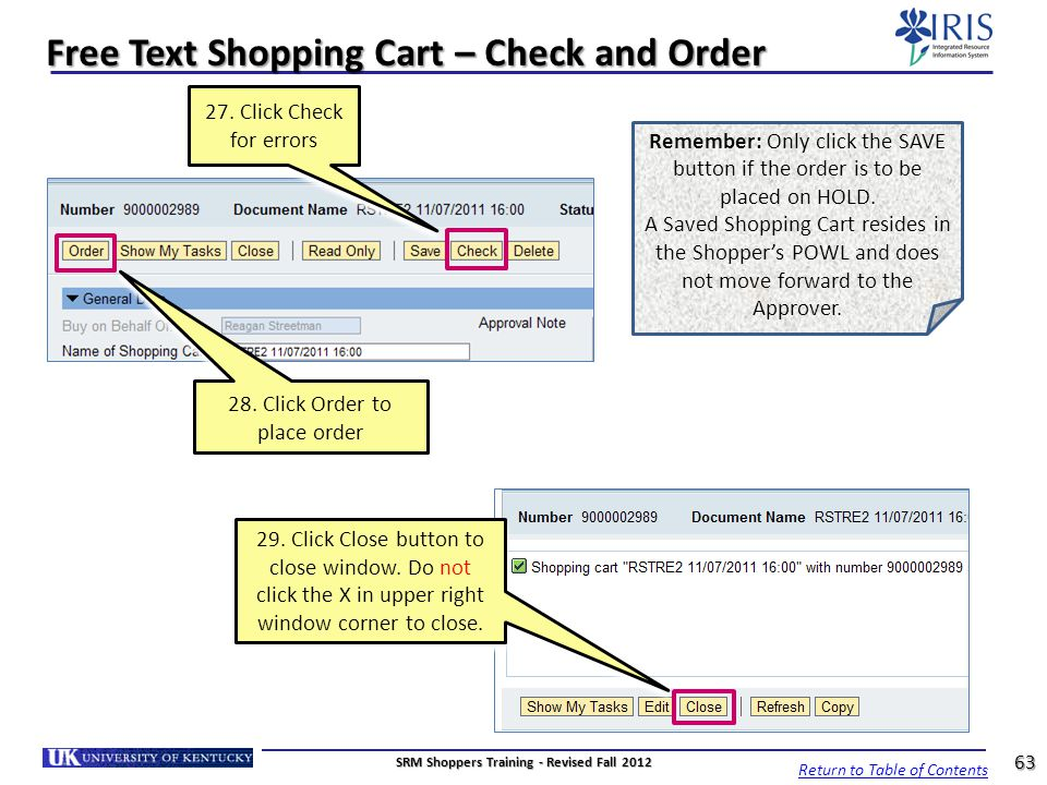 Free Text Shopping Cart – Check and Order
