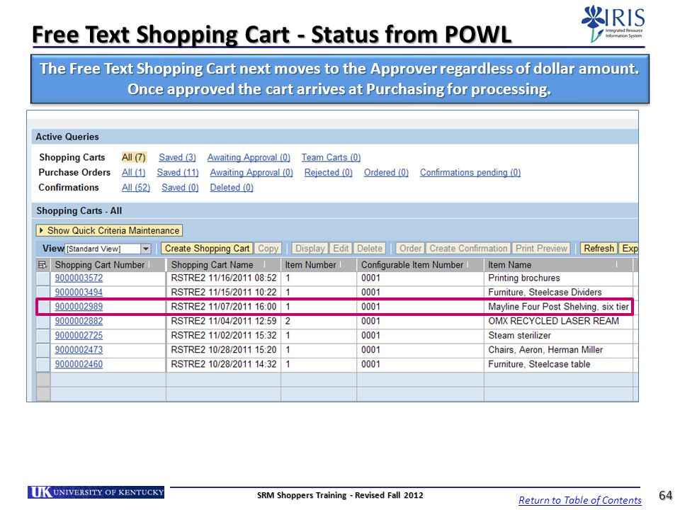 Free Text Shopping Cart - Status from POWL