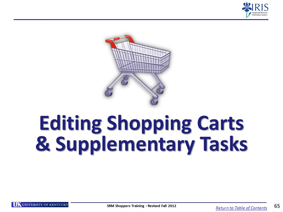Editing Shopping Carts SRM Shoppers Training - Revised Fall 2012