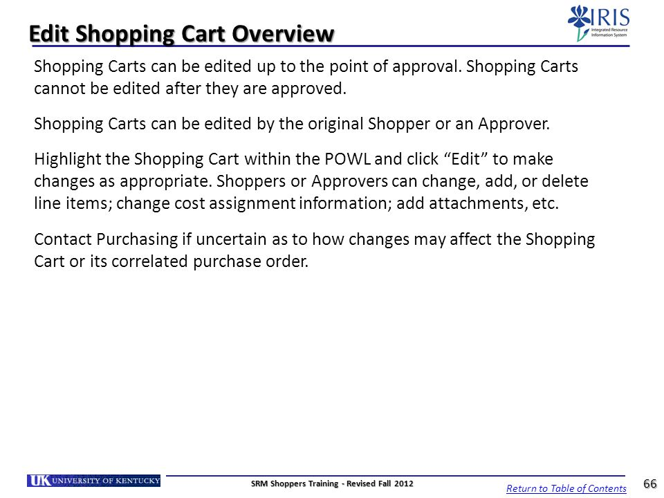 Edit Shopping Cart Overview