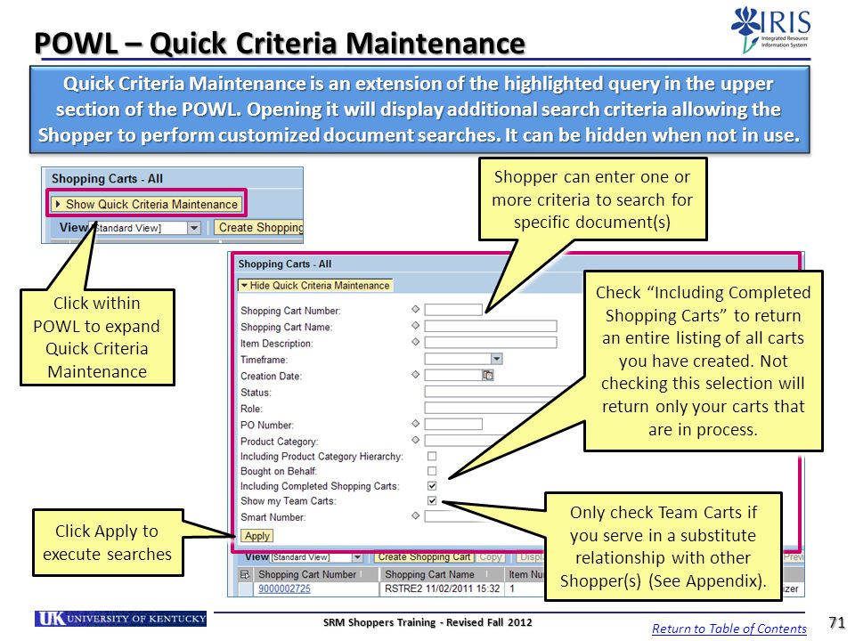 POWL – Quick Criteria Maintenance