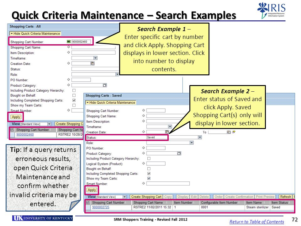 Quick Criteria Maintenance – Search Examples