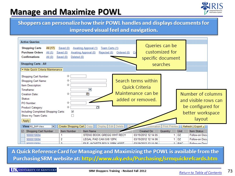 Manage and Maximize POWL