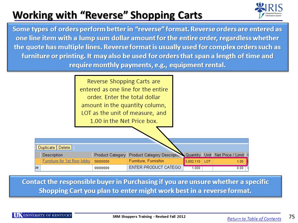 Working with Reverse Shopping Carts