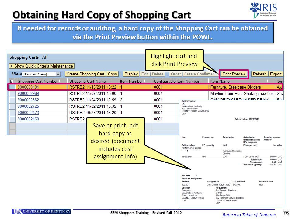 Obtaining Hard Copy of Shopping Cart