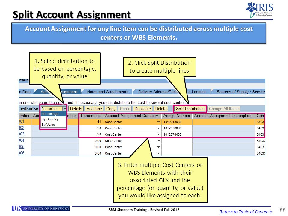 Split Account Assignment