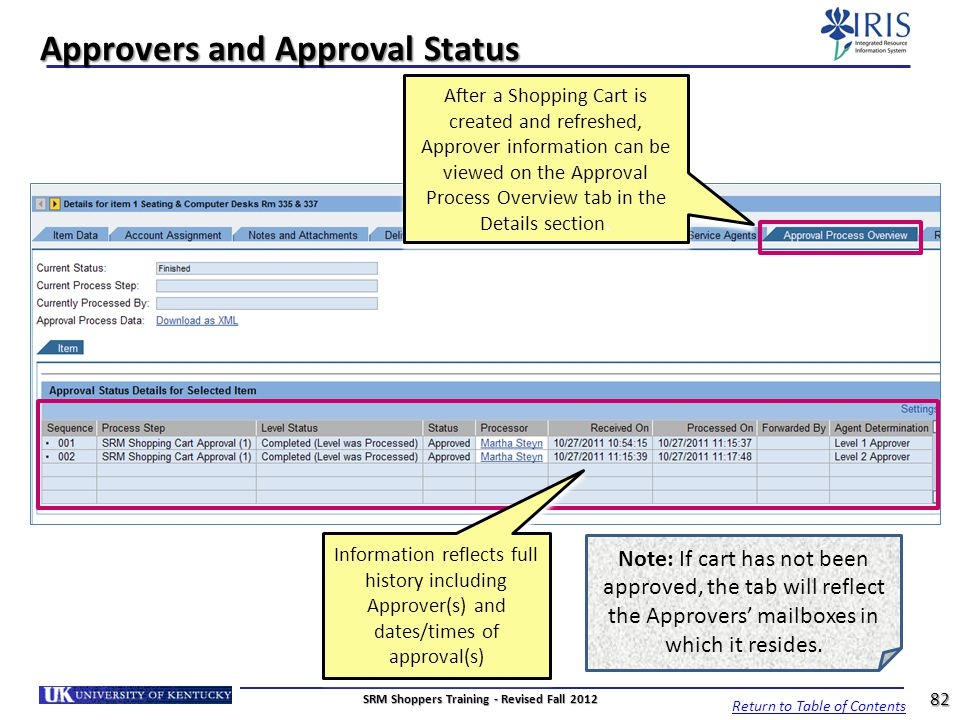Approvers and Approval Status