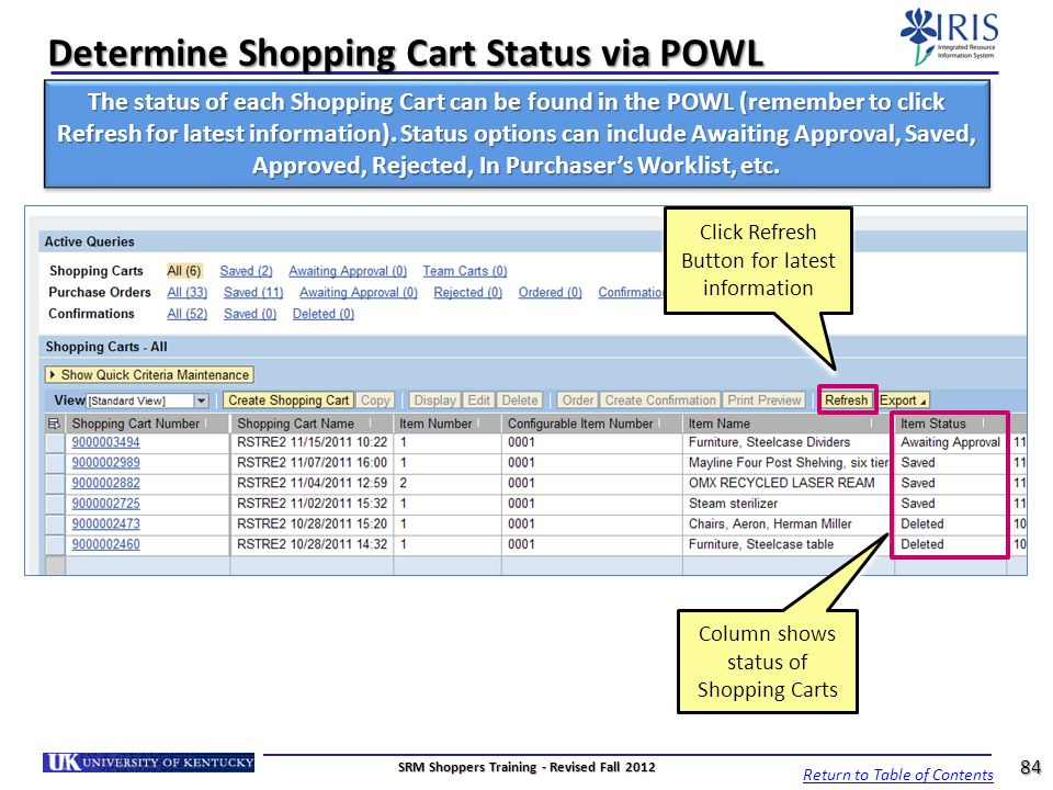 Determine Shopping Cart Status via POWL