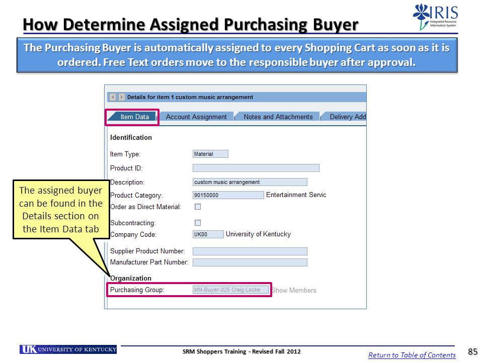 How Determine Assigned Purchasing Buyer