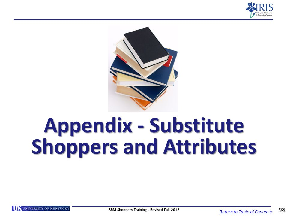 Appendix - Substitute Shoppers and Attributes