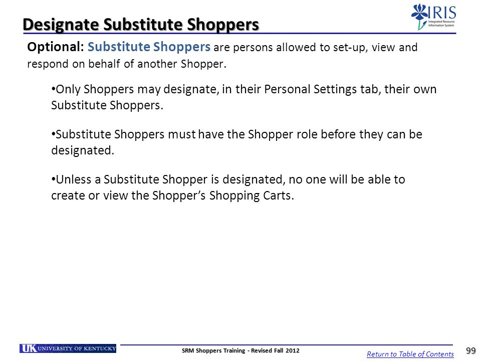 Designate Substitute Shoppers