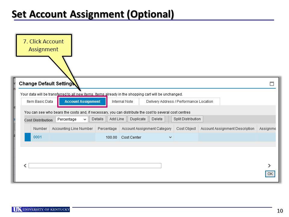 Set Account Assignment (Optional)