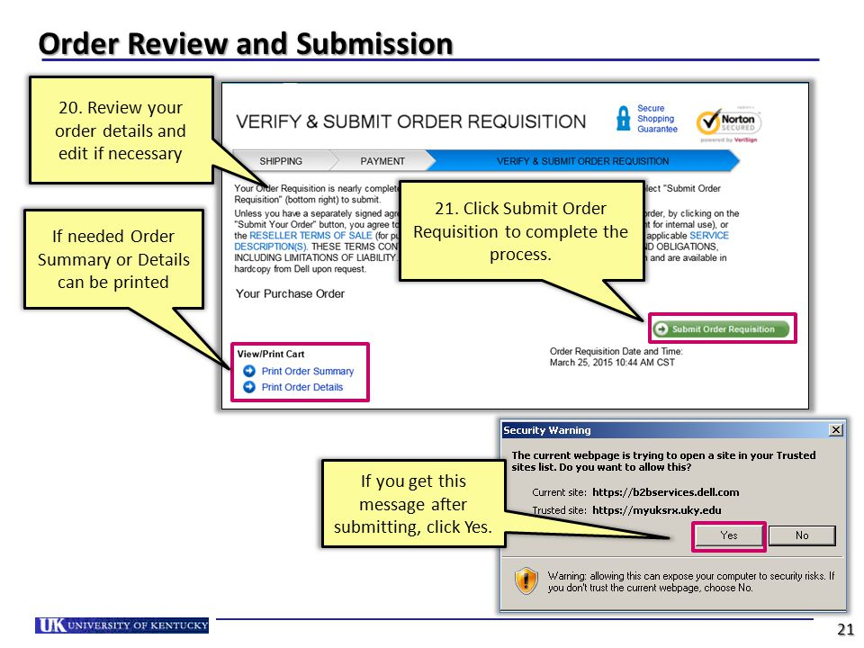 Order Review and Submission