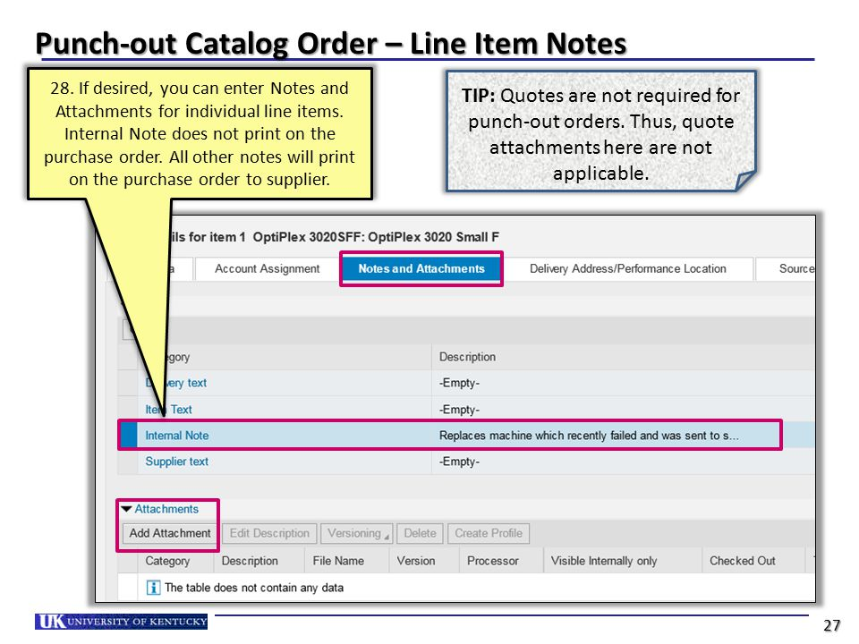 Punch-out Catalog Order – Line Item Notes