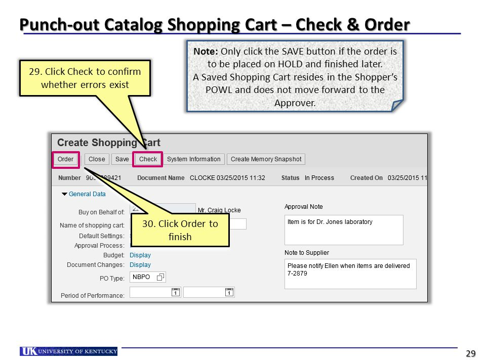Punch-out Catalog Shopping Cart – Check & Order