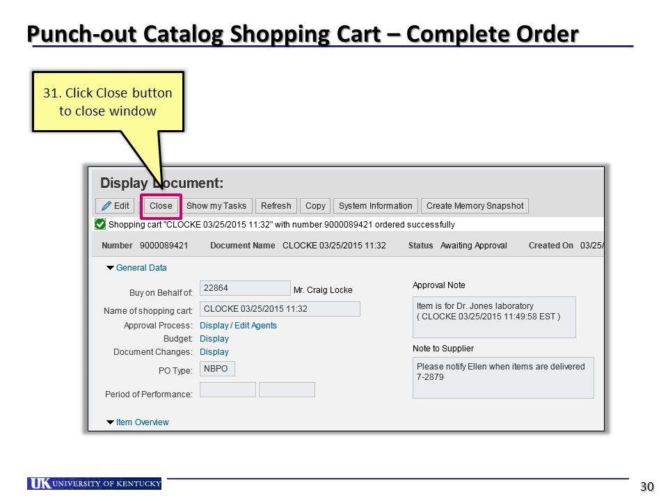 Punch-out Catalog Shopping Cart – Complete Order