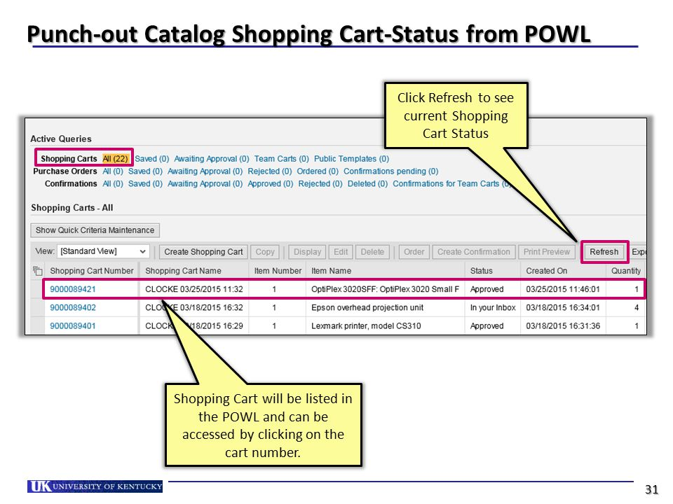 Punch-out Catalog Shopping Cart-Status from POWL