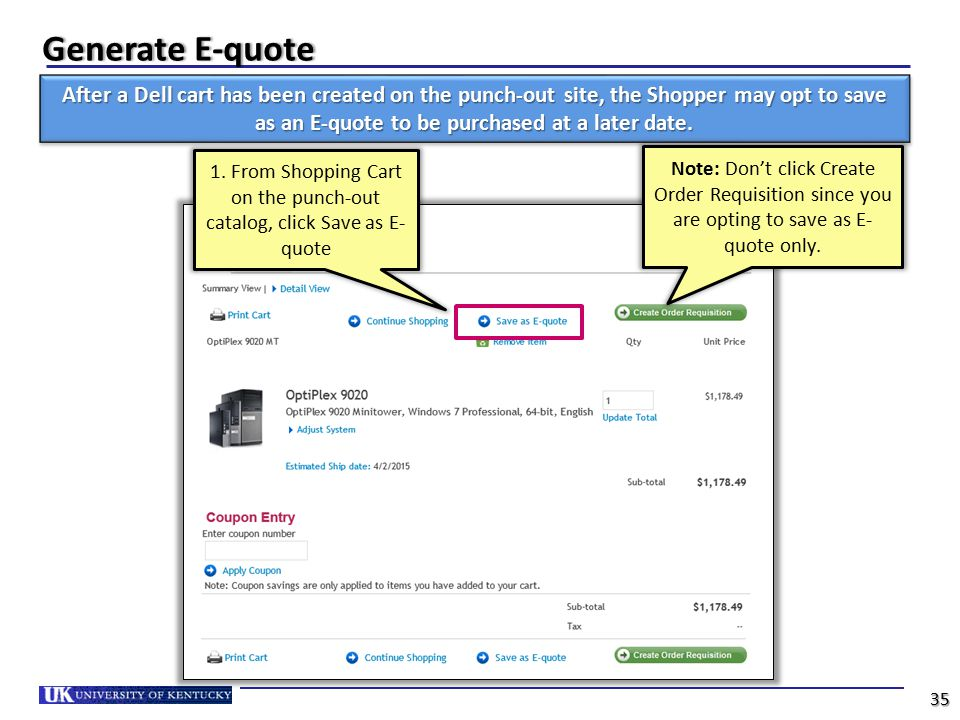 1. From Shopping Cart on the punch-out catalog, click Save as E-quote