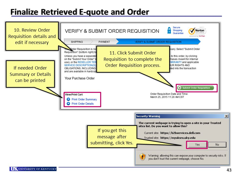 Finalize Retrieved E-quote and Order