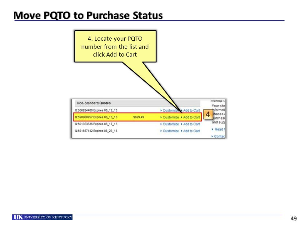 Move PQTO to Purchase Status