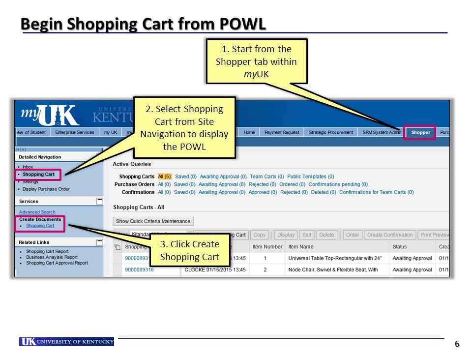 Begin Shopping Cart from POWL