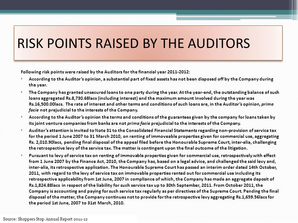 RISK POINTS RAISED BY THE AUDITORS