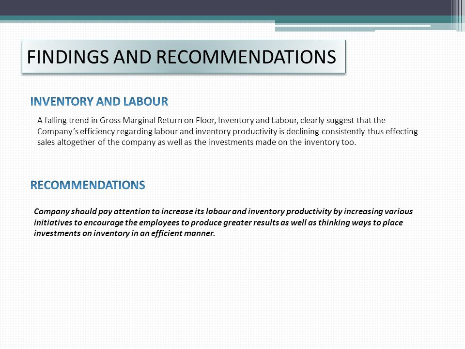 FINDINGS AND RECOMMENDATIONS
