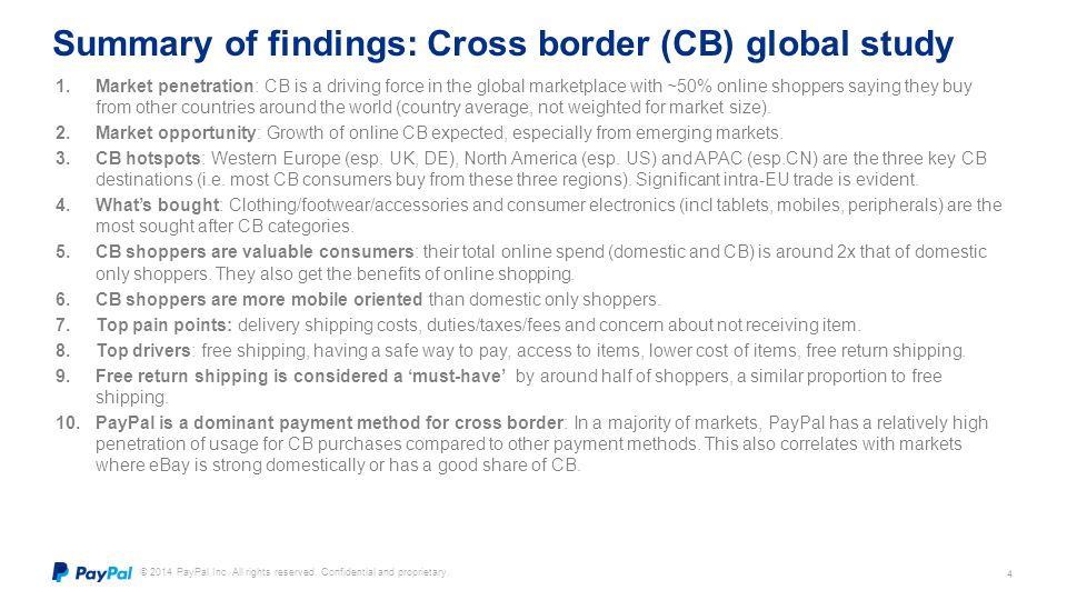 Summary of findings: Cross border (CB) global study
