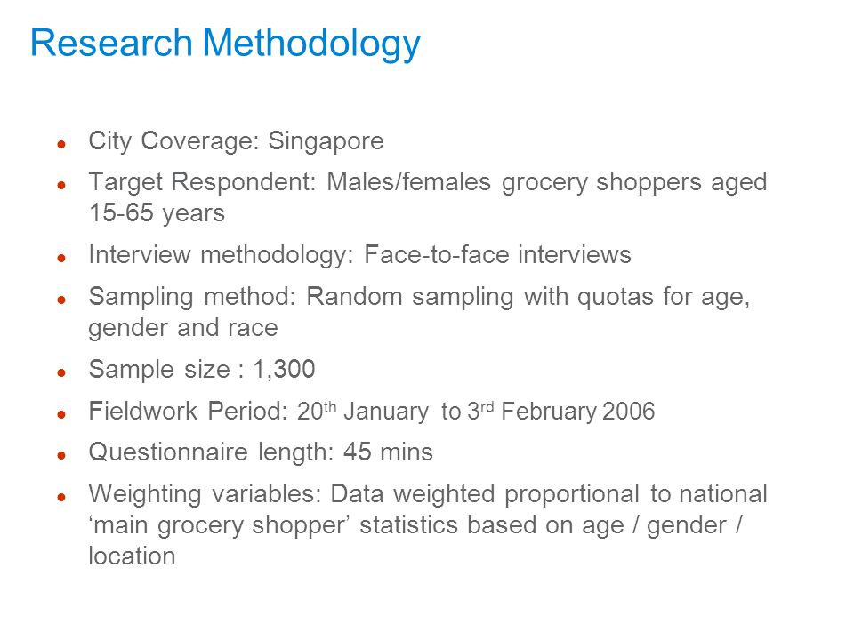 Research Methodology City Coverage: Singapore