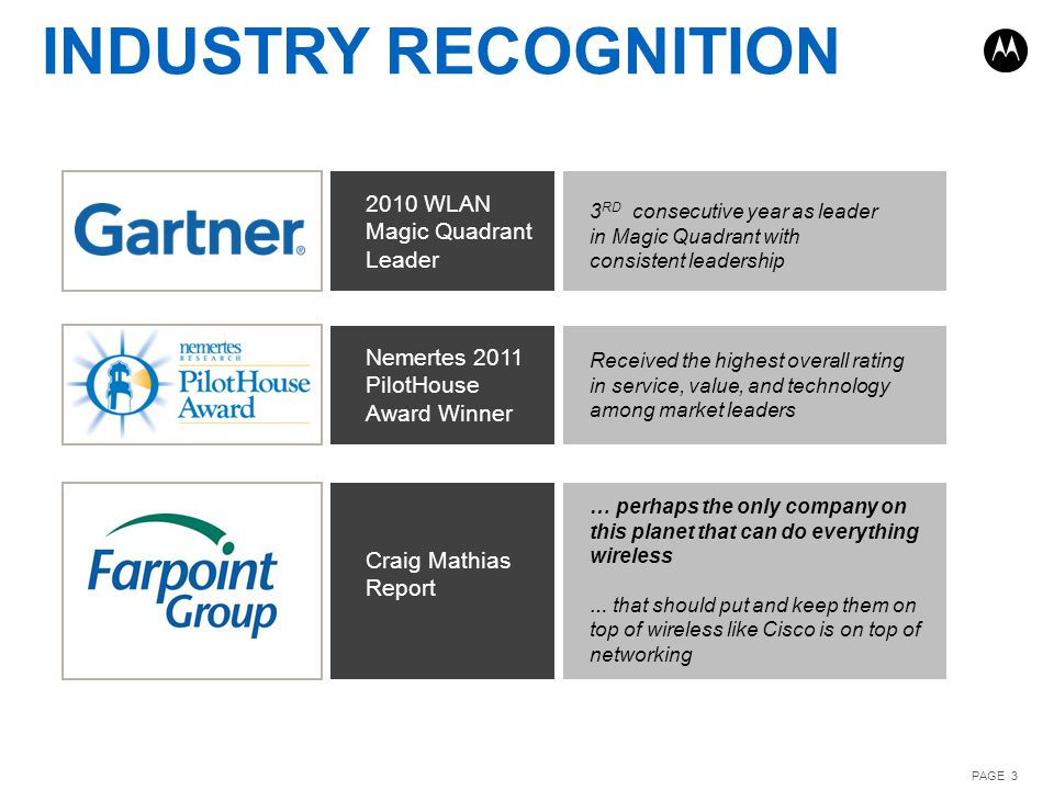 INDUSTRY RECOGNITION 2010 WLAN Magic Quadrant Leader