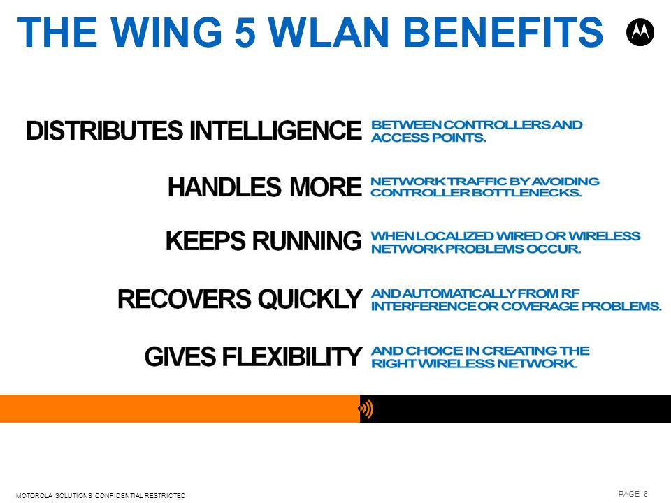 THE WiNG 5 WLAN BENEFITS MOTOROLA SOLUTIONS CONFIDENTIAL RESTRICTED