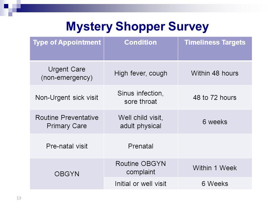 Mystery Shopper Survey