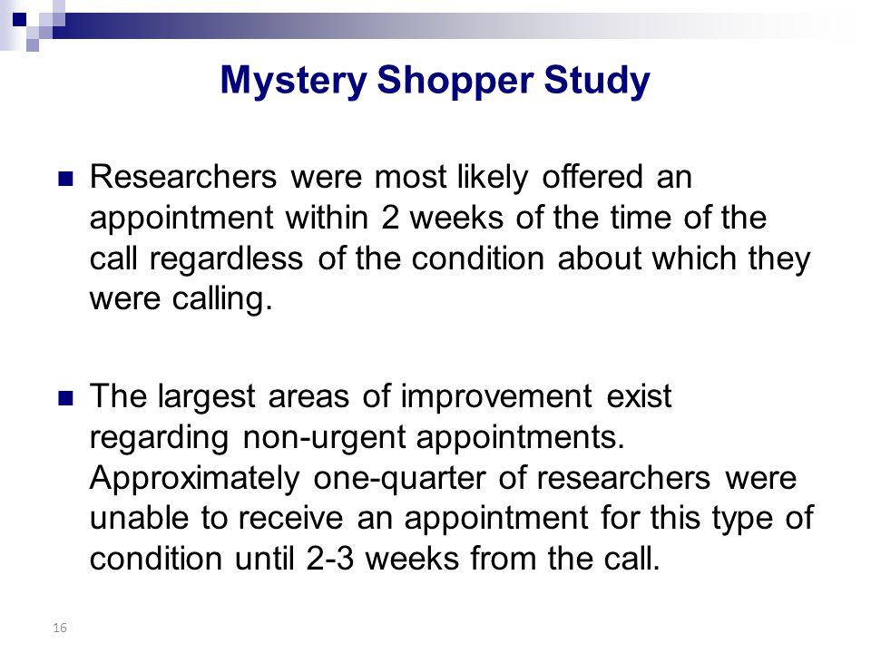 Mystery Shopper Study