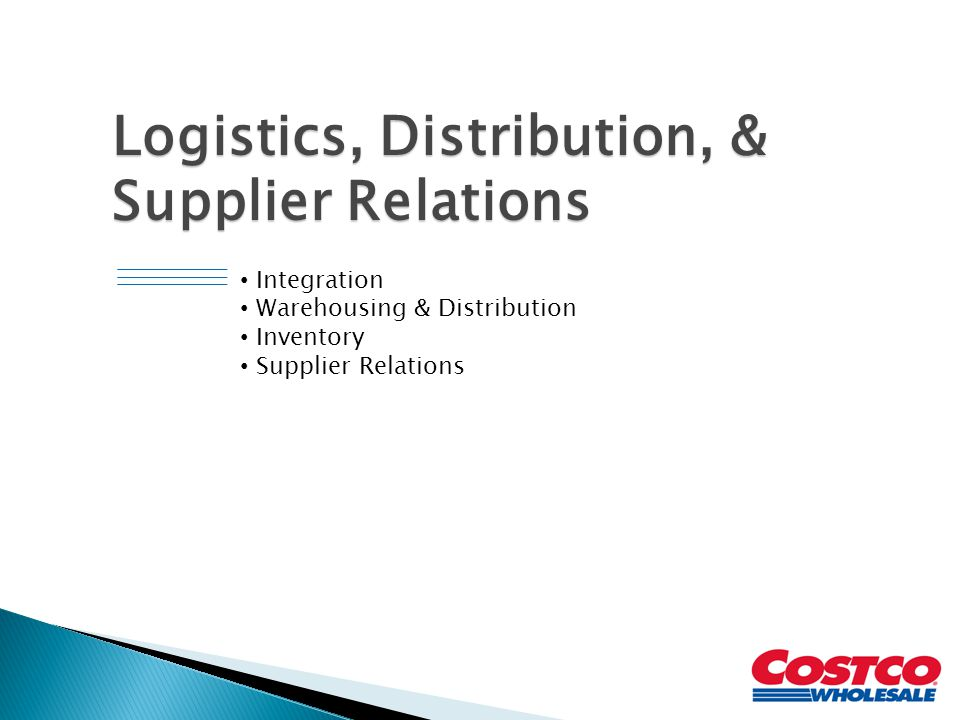 Logistics, Distribution, & Supplier Relations