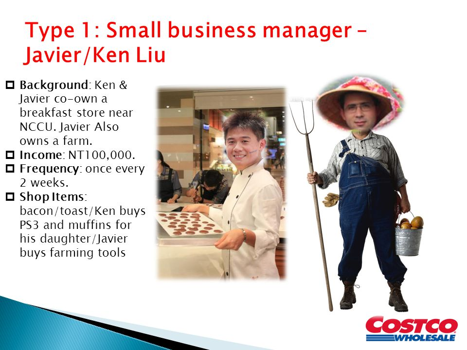 Type 1: Small business manager – Javier/Ken Liu
