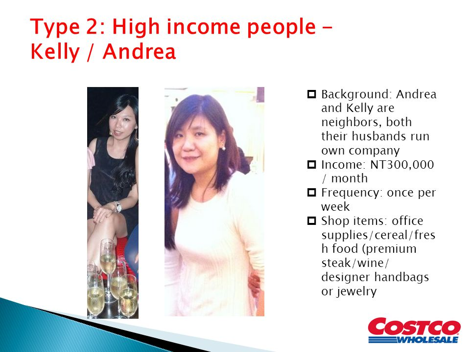 Type 2: High income people - Kelly / Andrea