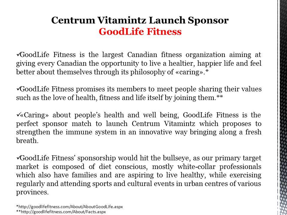 Centrum Vitamintz Launch Sponsor GoodLife Fitness