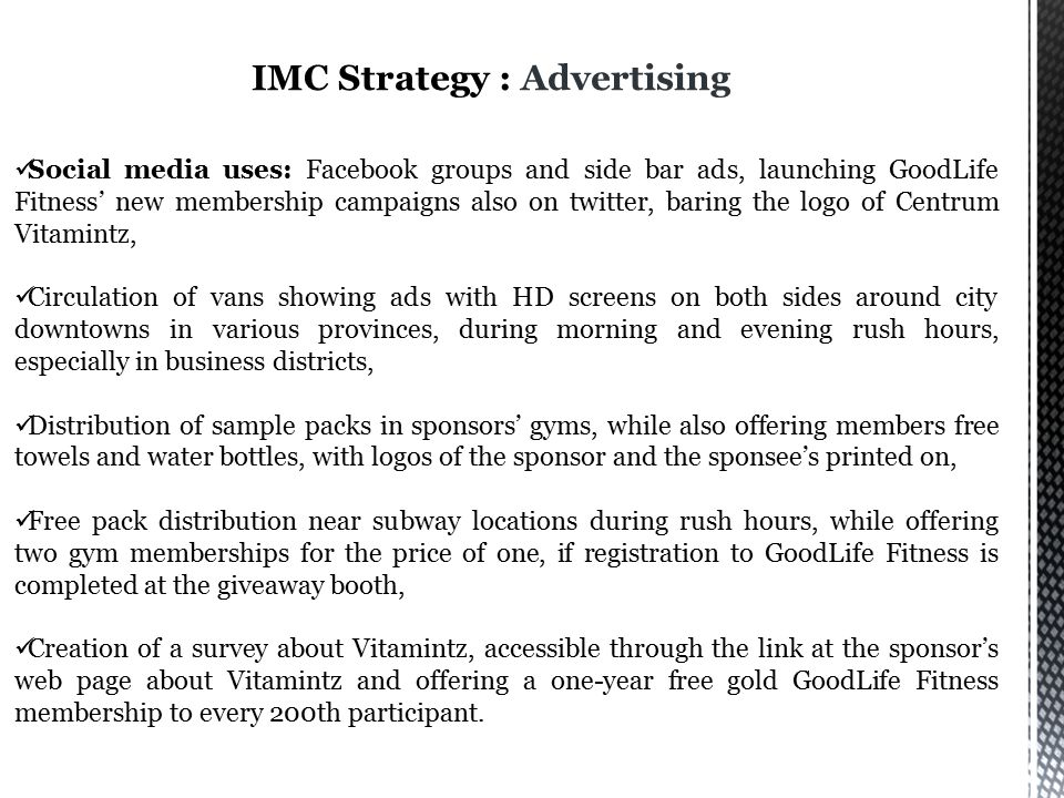 IMC Strategy : Advertising