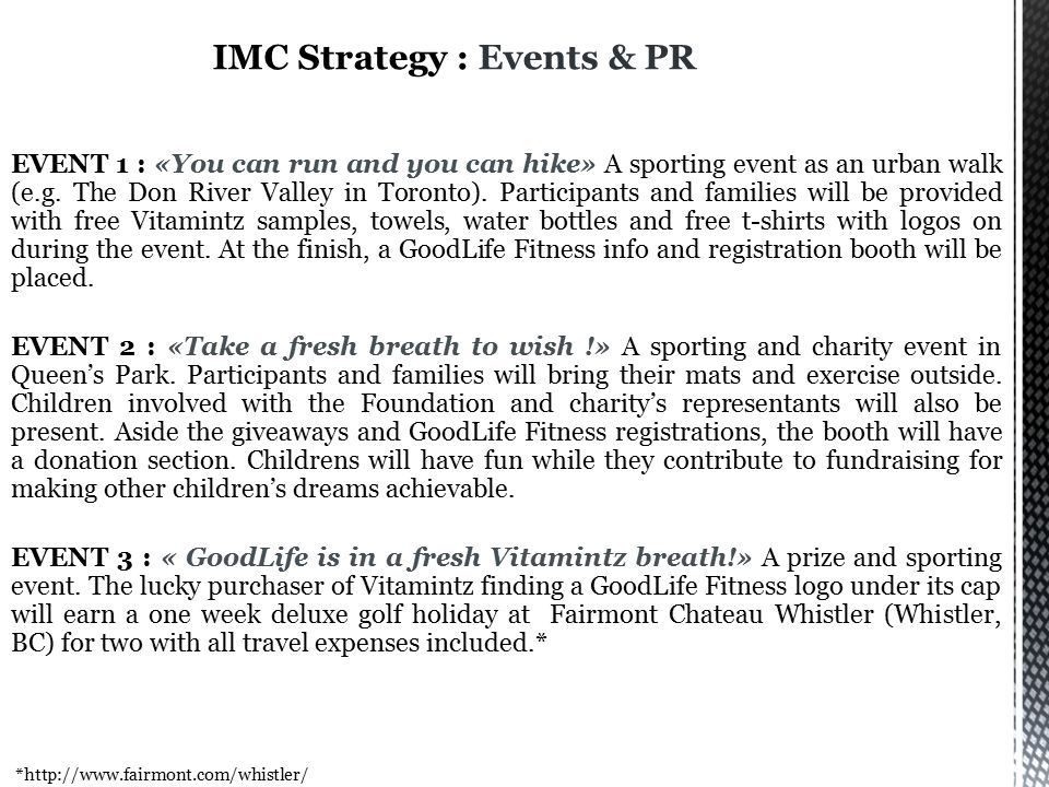 IMC Strategy : Events & PR