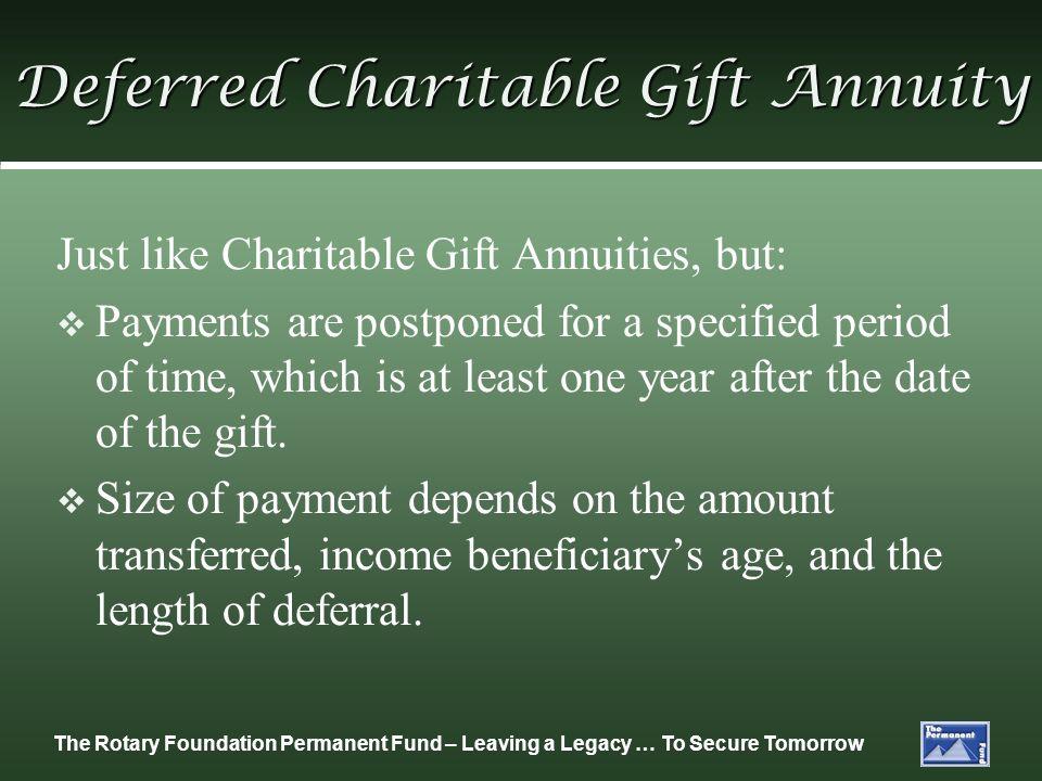 Deferred Charitable Gift Annuity