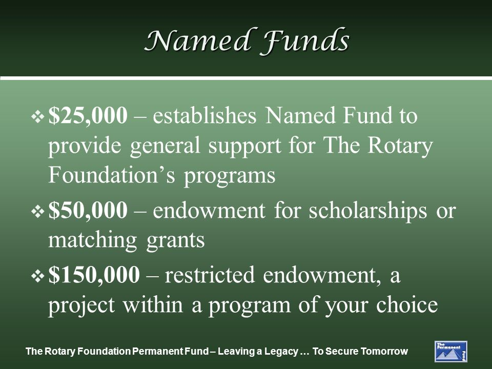 Named Funds $25,000 – establishes Named Fund to provide general support for The Rotary Foundation's programs.