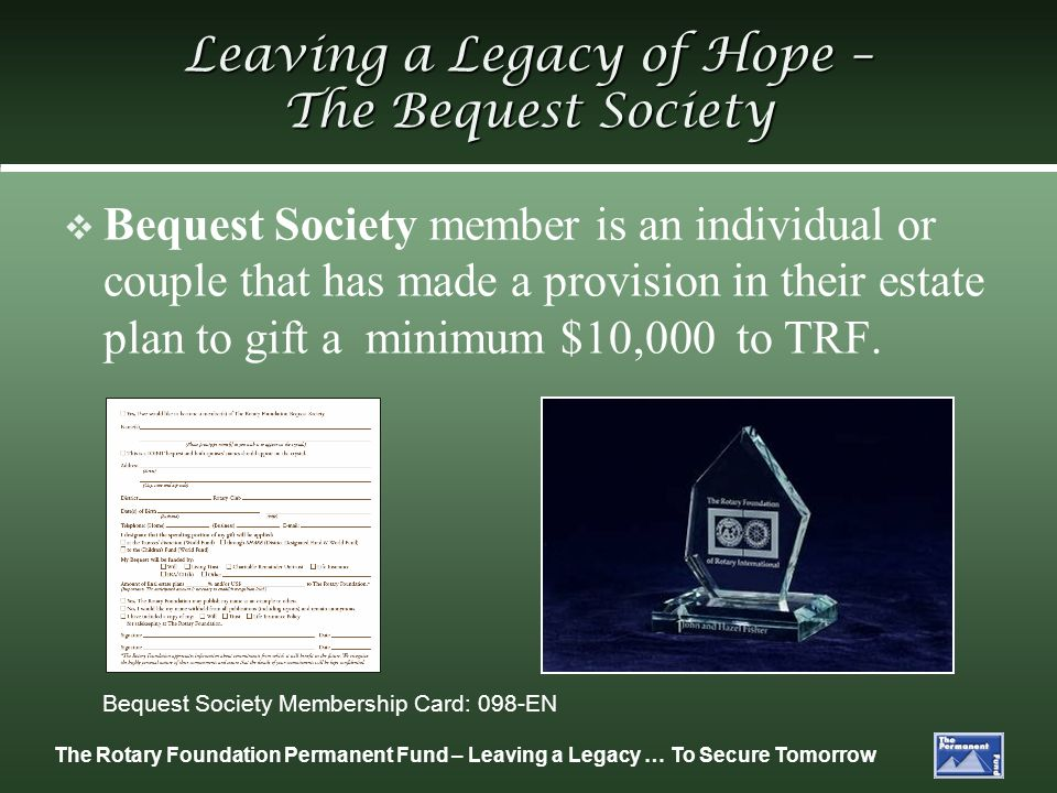 Leaving a Legacy of Hope – The Bequest Society