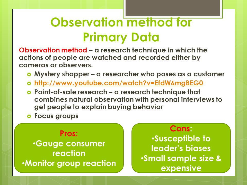 Observation method for Primary Data