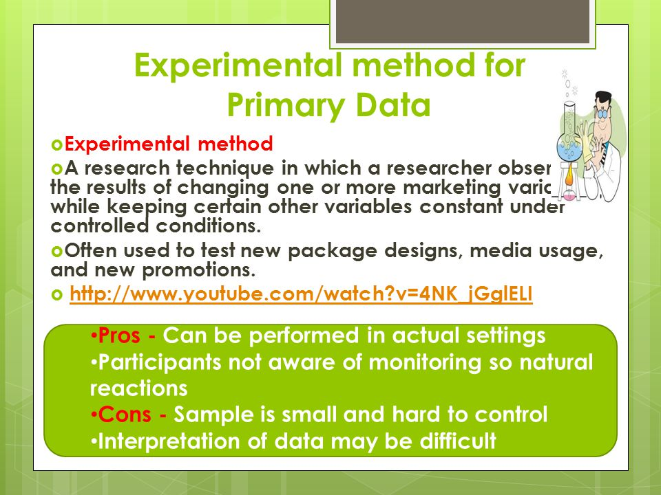 Experimental method for Primary Data