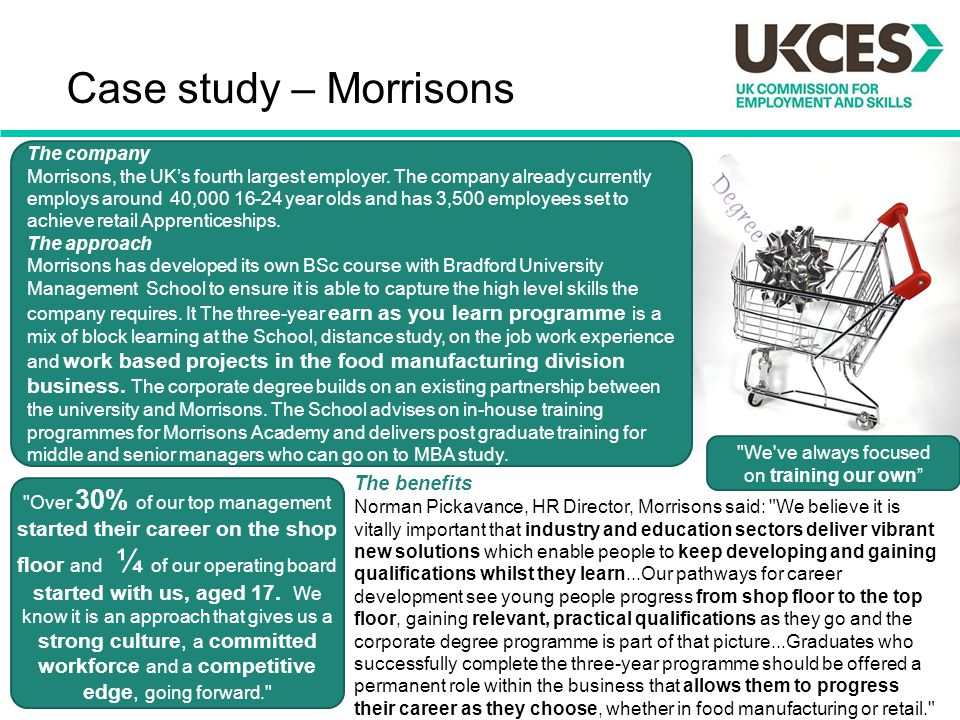 Case study – Morrisons The benefits The company